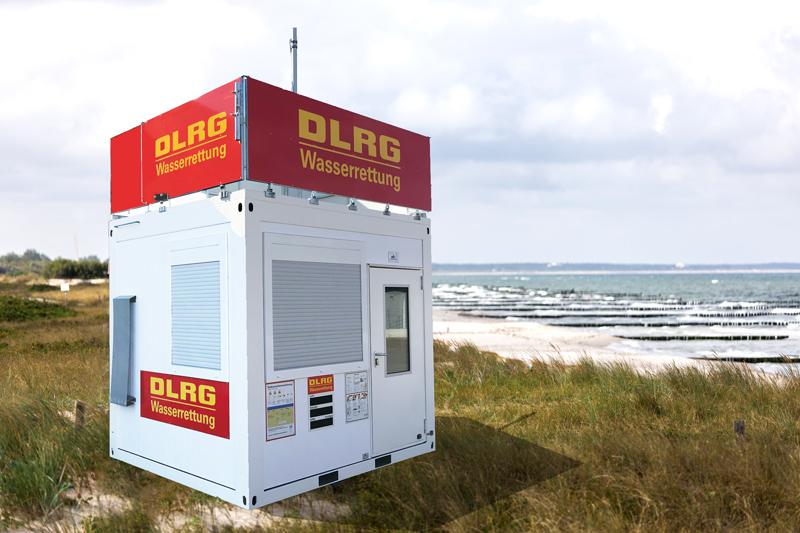 Eine mobile Wachstation am Strand